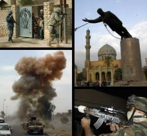 Clockwise, starting at top left: a joint patrol in Samarra; the toppling of the Saddam Hussein statue in Firdos Square; an Iraqi Army soldier readies his rifle during an assault; a roadside bomb detonates in South Baghdad. Via Wikimedia Commons