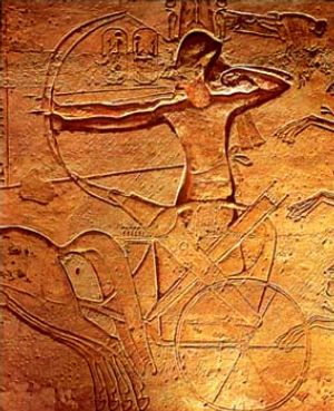 Ramesses atop chariot, at the battle of Kadesh.