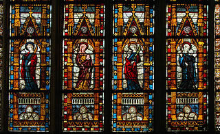 Detail of a medieval window at Troyes Cathedral, France (1300s). Author Vassil