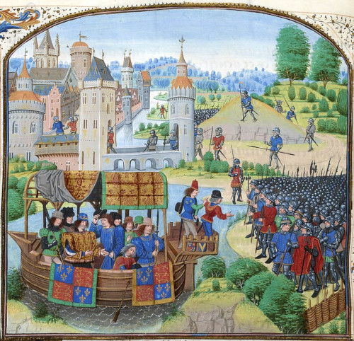 Richard II meets rebels during the Peasants' Revolt of 1381.