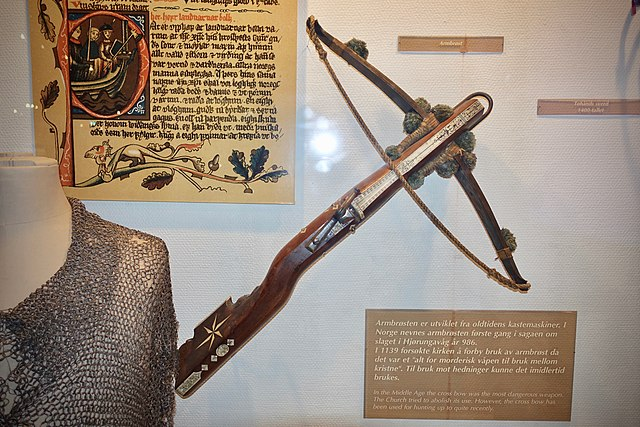 A middle ages Crossbow, in an exhibition of the Armed Forces Museum of Norway.
